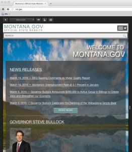 "The site mt.gov as seen in the ""Responsive View"" window in Firefox"